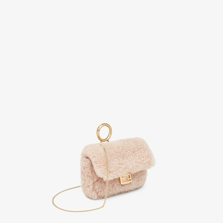 FENDI NANO BAGUETTE CHARM - Pink sheepskin charm - view 3 detail