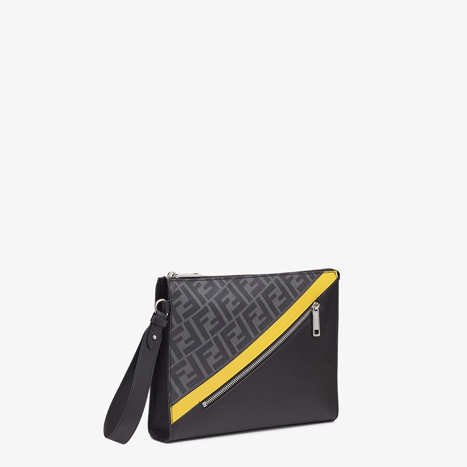 FENDI FLAT POUCH - Gray fabric pouch - view 2 detail