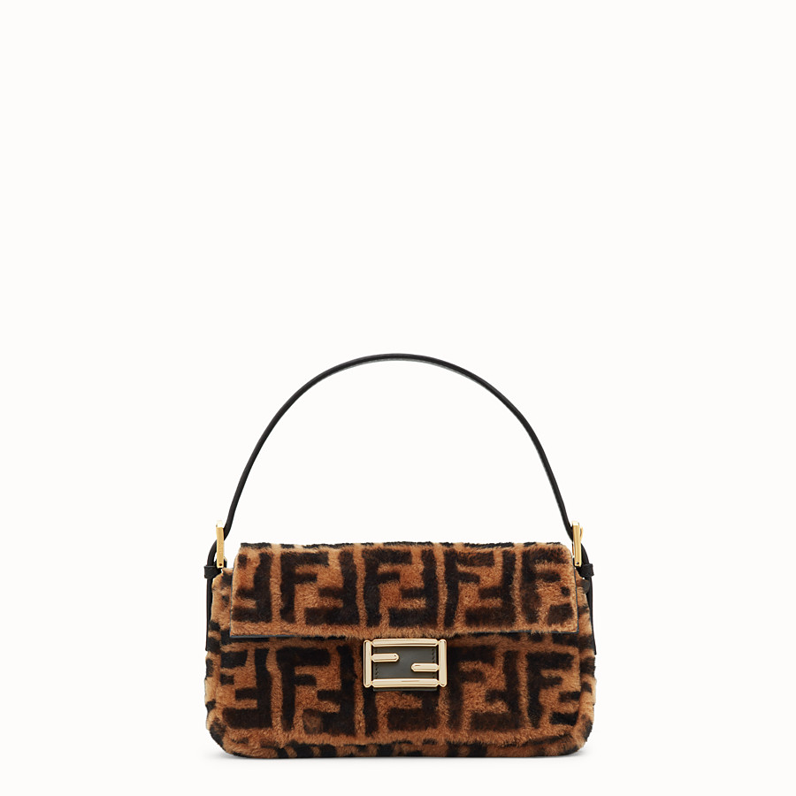 FENDI BAGUETTE - Brown sheepskin bag - view 1 detail