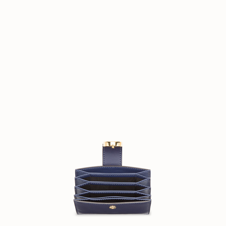 FENDI CARD HOLDER - Blue leather gusseted card holder - view 4 detail