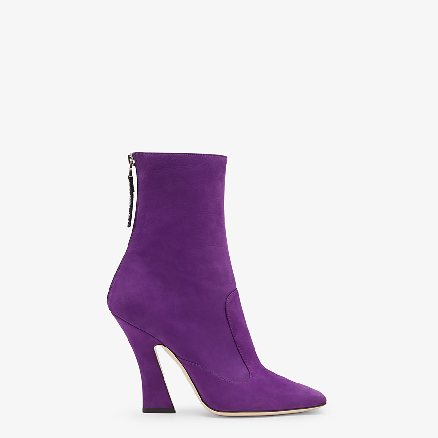 FENDI ANKLE BOOTS - Purple nubuck booties - view 1 detail