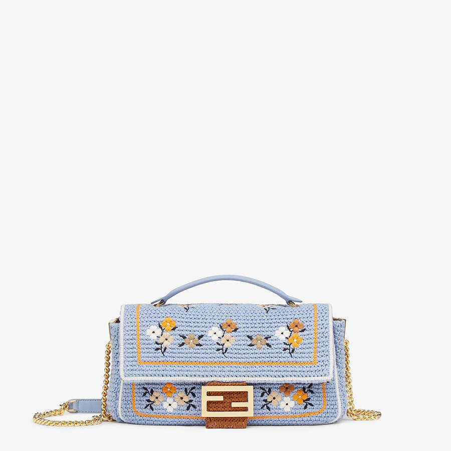 FENDI BAGUETTE - Light blue embroidered cotton bag - view 1 detail