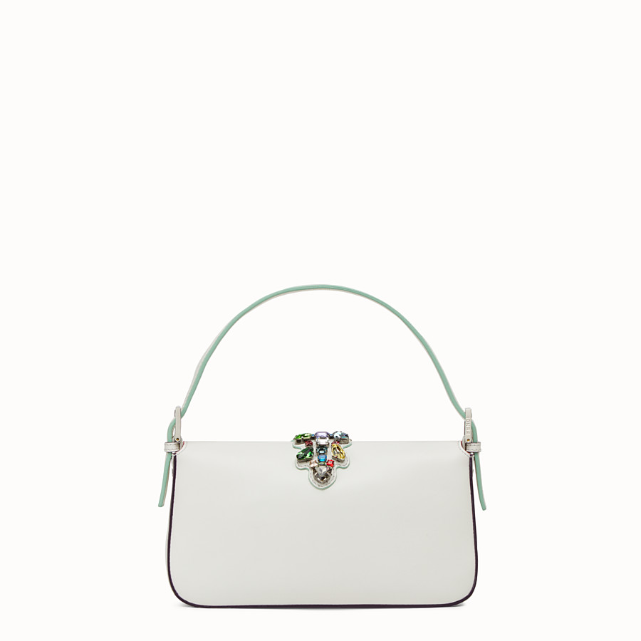 FENDI BAGUETTE - white leather shoulder bag with rhinestones - view 3 detail