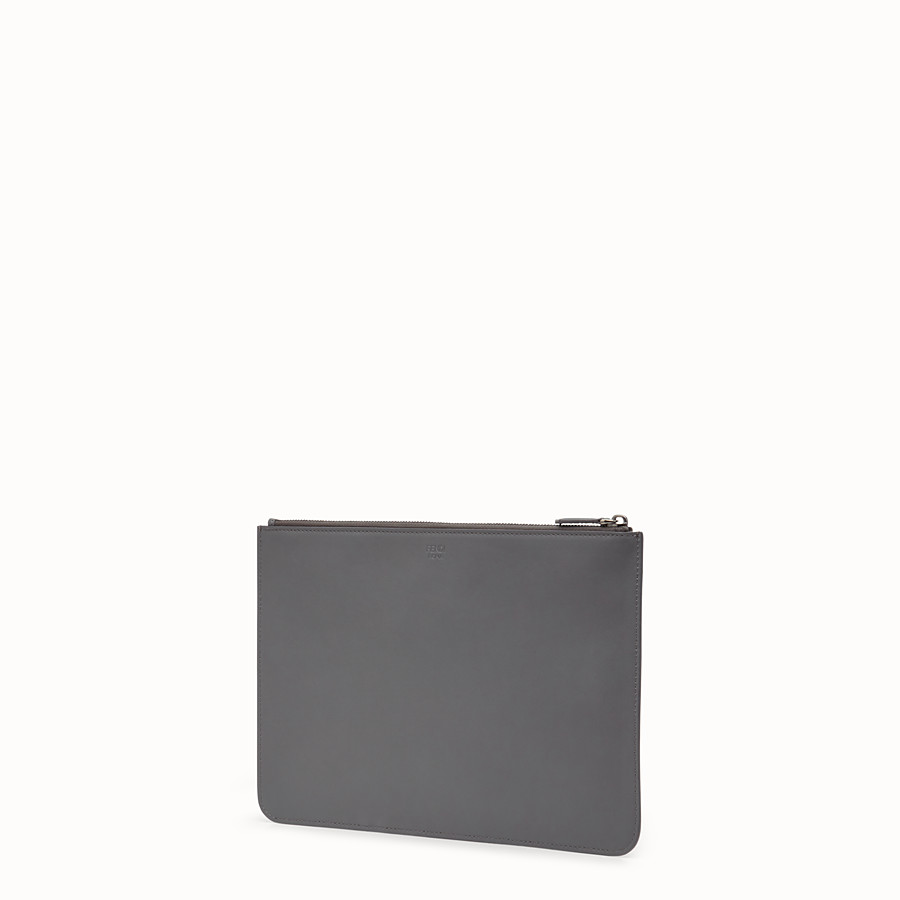 FENDI POUCH - Grey leather pochette - view 2 detail