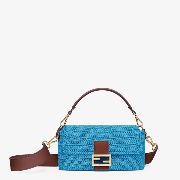 Blue cotton crochet bag