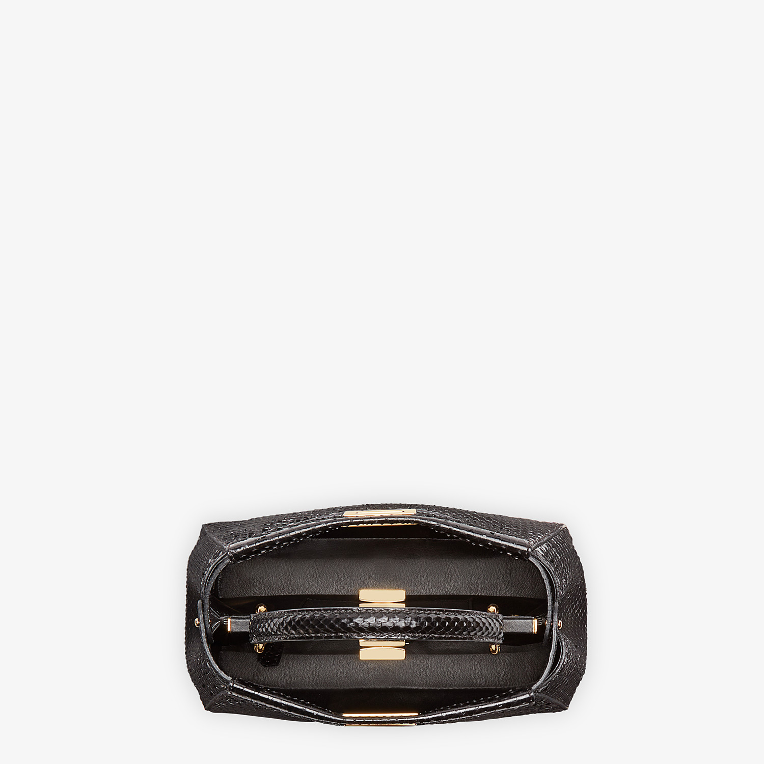 FENDI PEEKABOO ICONIC MINI - Black python handbag. - view 4 detail