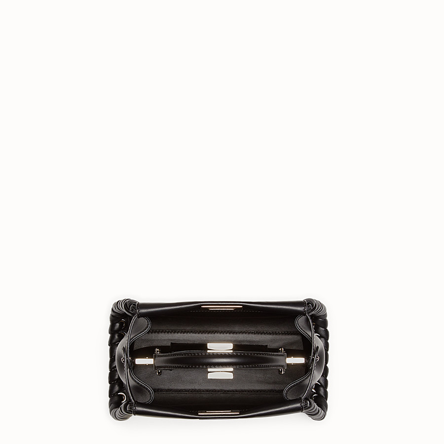 FENDI PEEKABOO MINI - black nappa handbag with weave - view 4 detail