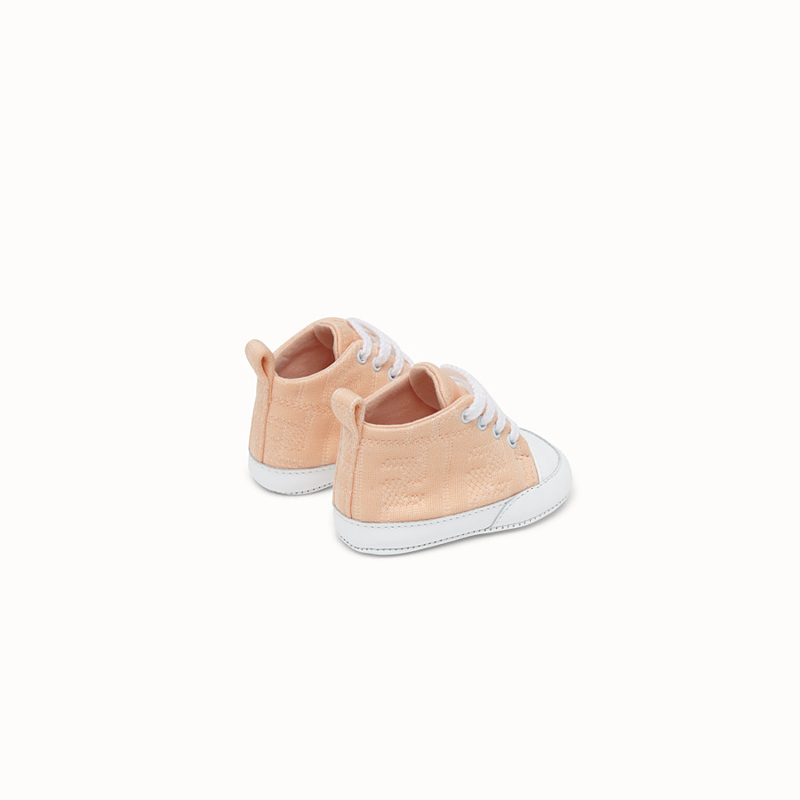 FENDI SNEAKERS - Marzipan colour cotton baby sneakers - view 2 detail