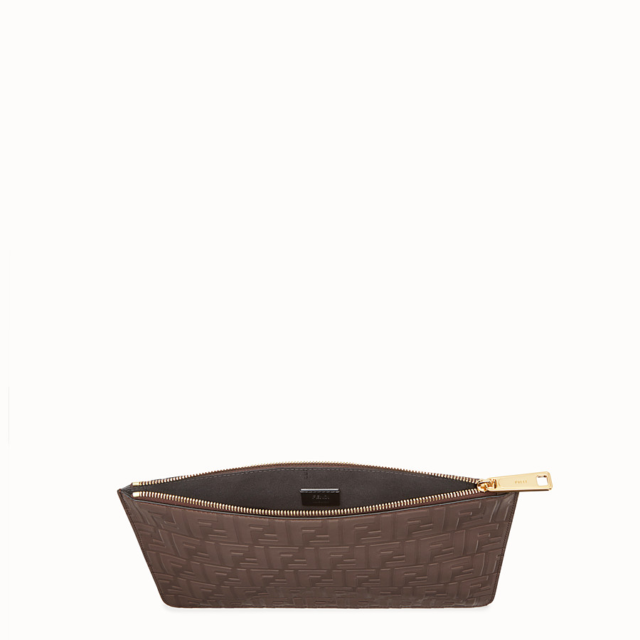 FENDI CLUTCH - Brown leather pouch - view 3 detail