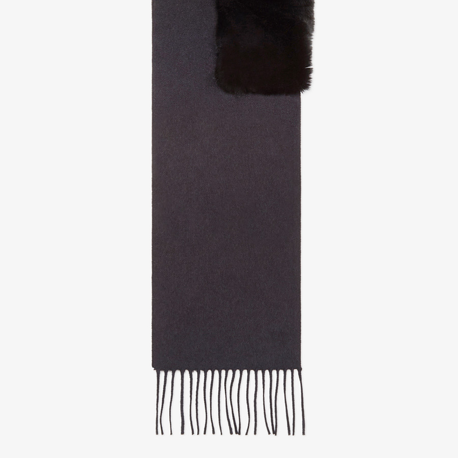 FENDI SCARF - Black silk, cashmere and fur scarf - view 1 detail