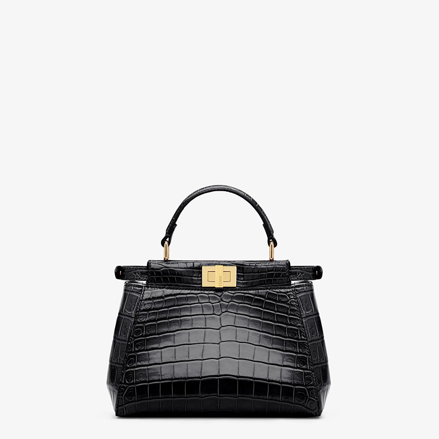 FENDI PEEKABOO MINI - Black crocodile bag - view 3 detail