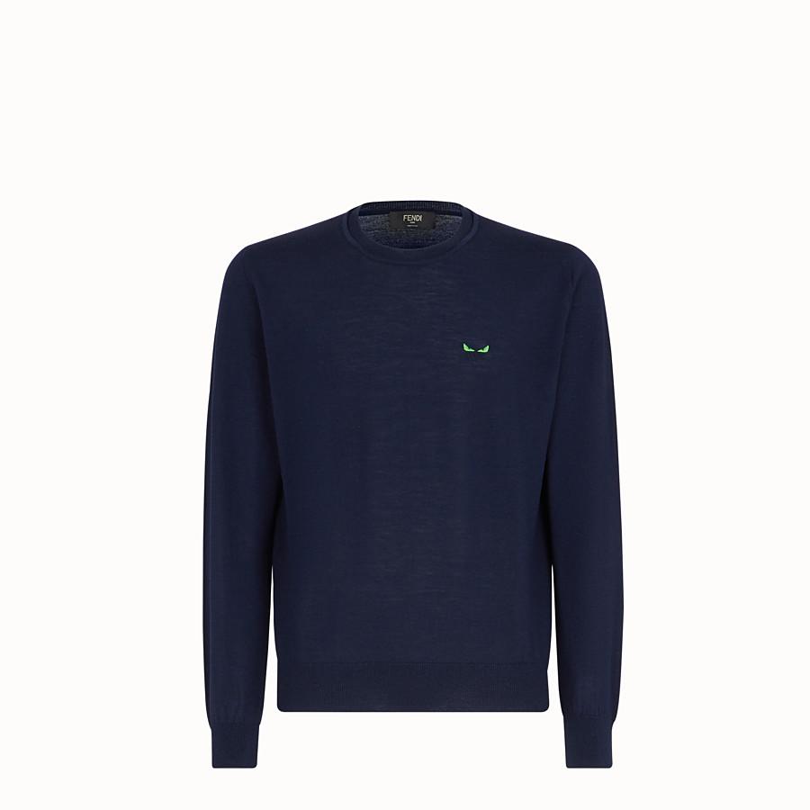 FENDI PULLOVER - Blue wool jumper - view 1 detail