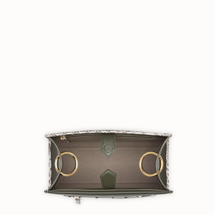 FENDI RUNAWAY SMALL - Green leather bag with exotic details - view 4 detail