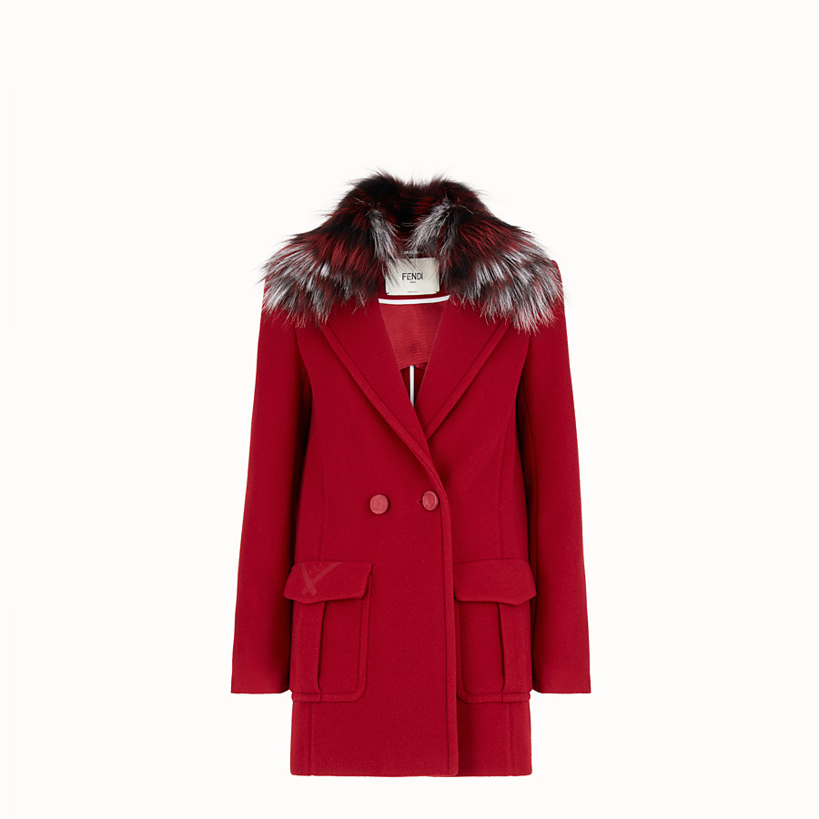 FENDI COAT - Red wool pea coat - view 1 detail