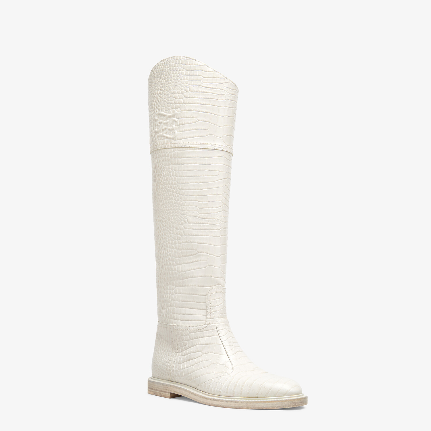 FENDI KARLIGRAPHY - White leather boots - view 2 detail