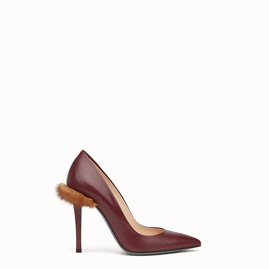 FENDI PUMPS - Burgundy leather court shoes - view 1 detail