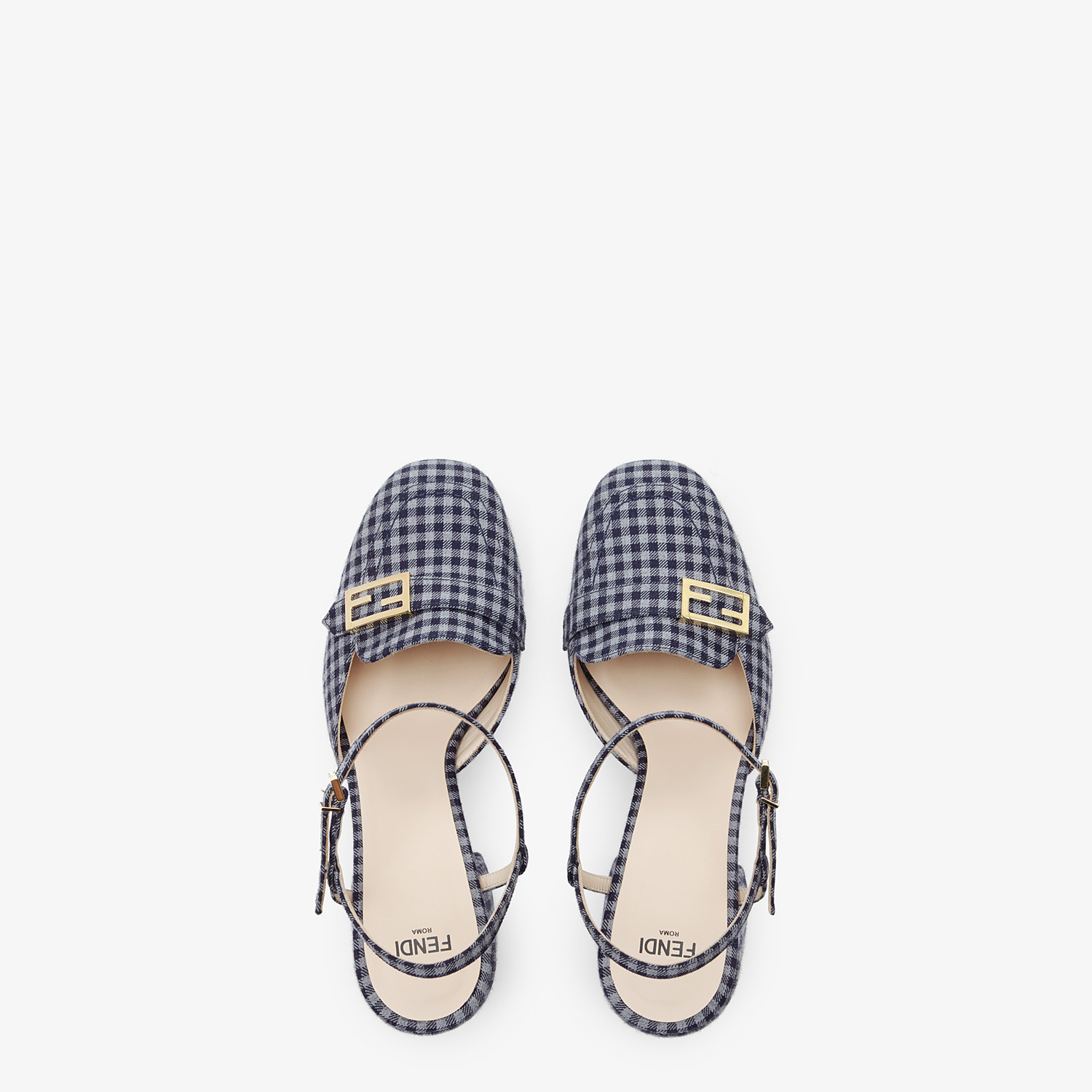FENDI PROMENADES - Gray Vichy fabric platform loafers - view 4 detail
