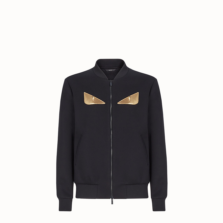 FENDI BLOUSON JACKET - Black neoprene jacket - view 1 detail