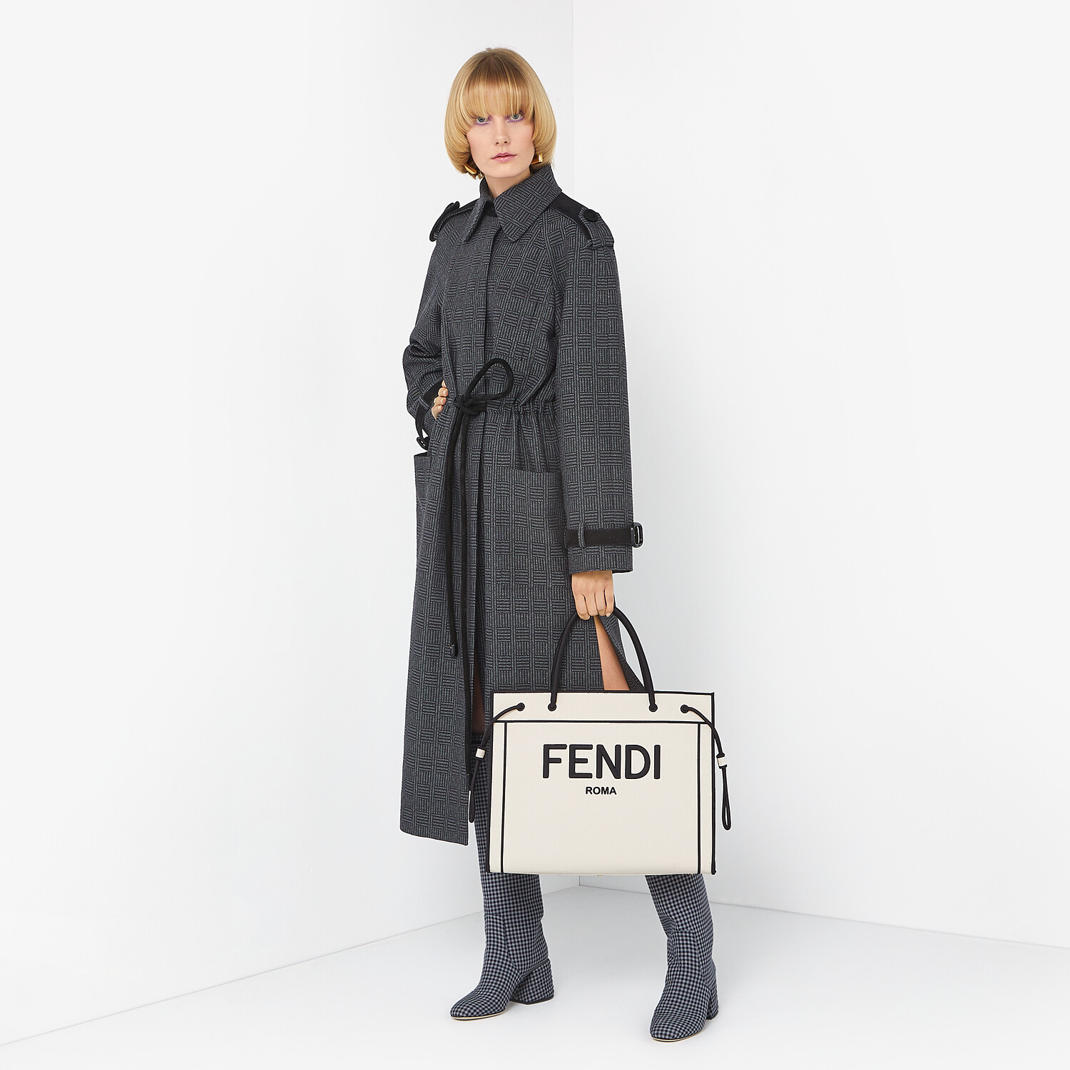 FENDI OVERCOAT - Gray wool trench coat - view 4 detail