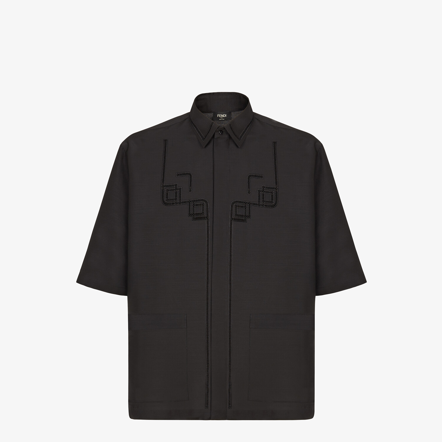 FENDI SHIRT - Black wool shirt - view 1 detail