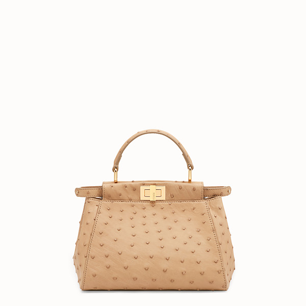 FENDI PEEKABOO MINI - Borsa in struzzo marrone - vista 1 thumbnail piccola