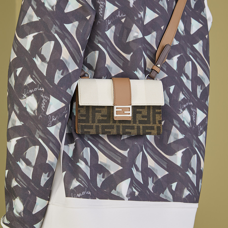 FENDI BAGUETTE POUCH - Brown fabric bag - view 5 detail