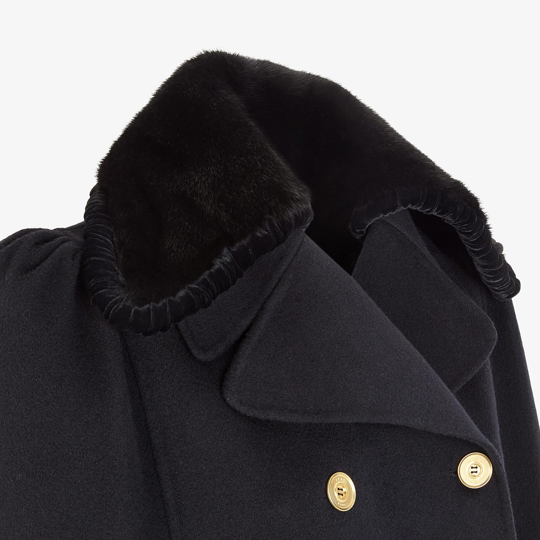 FENDI CAPE - Black wool and silk cape - view 3 detail