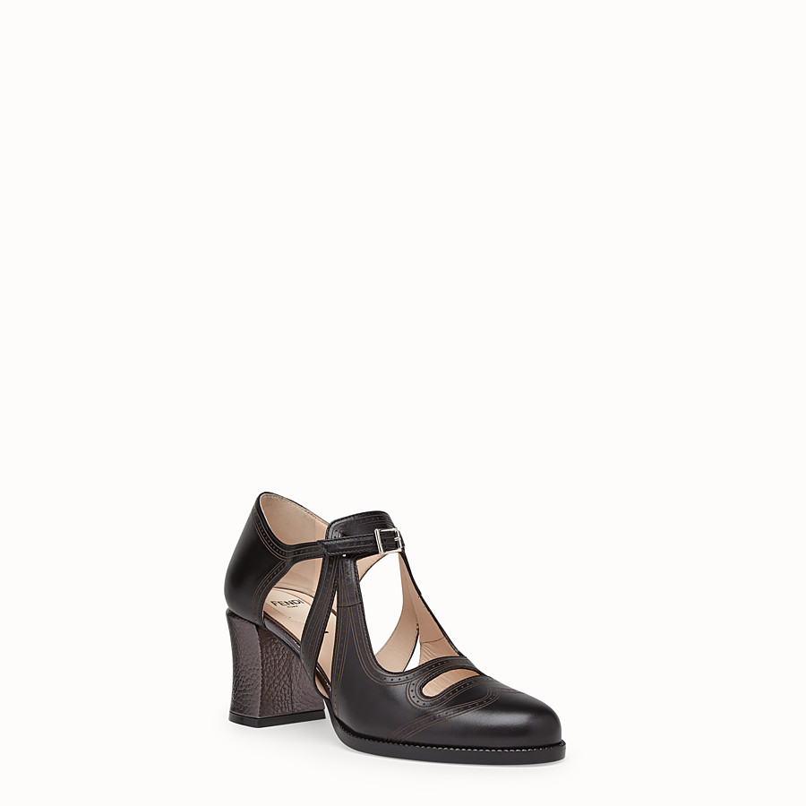 FENDI SANDALS - Black leather court shoes - view 2 detail