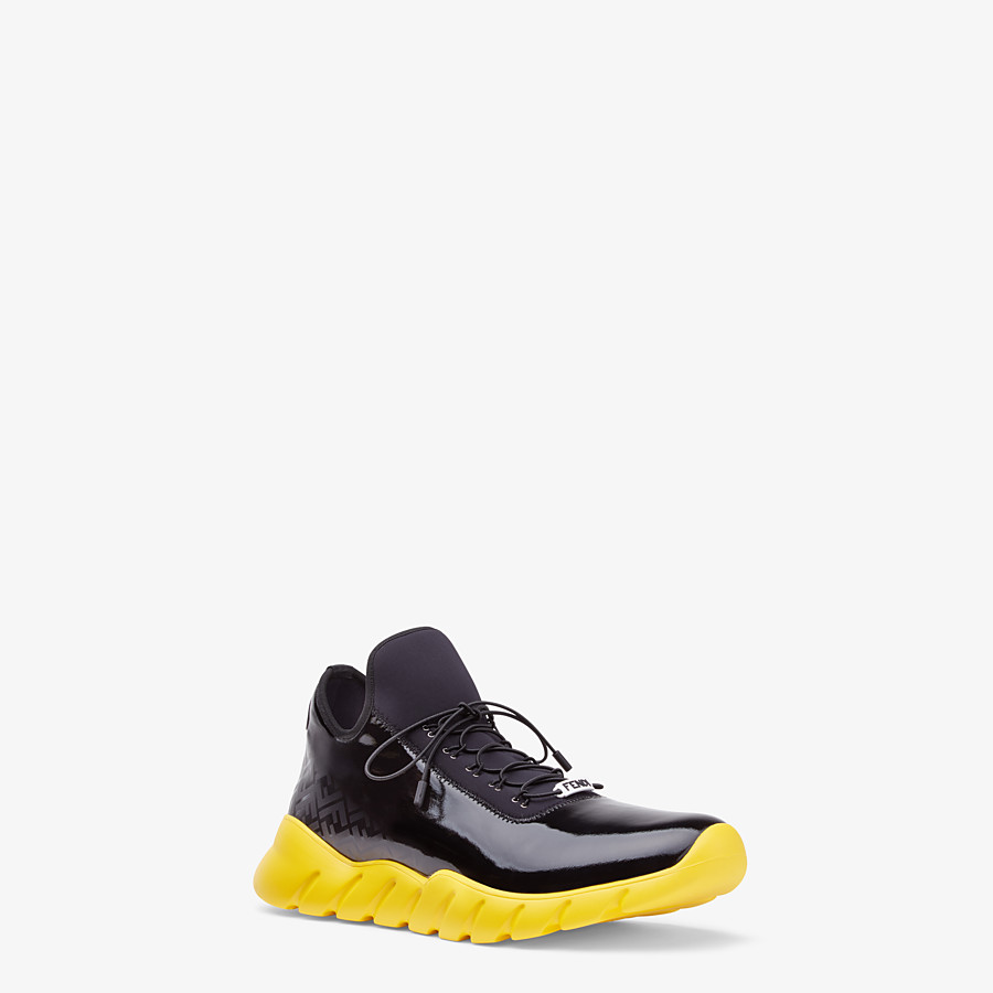 FENDI SNEAKERS - High-tops in black patent leather and fabric - view 2 detail