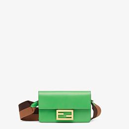 FENDI FLAT BAGUETTE - Green leather mini bag - view 1 thumbnail