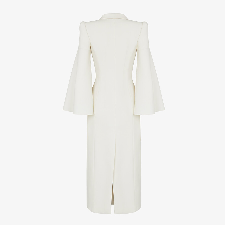 FENDI OVERCOAT - White silk and wool coat - view 2 detail