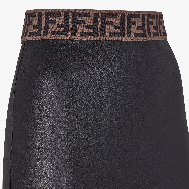 FENDI SKIRT - Black leather skirt - view 3 detail