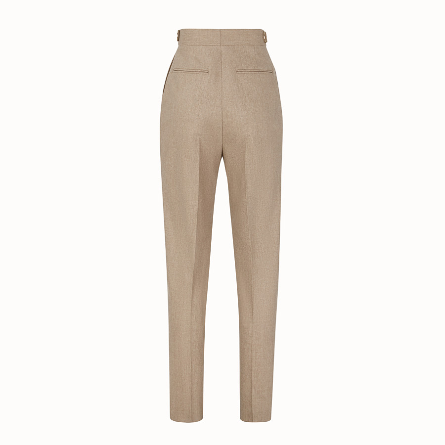 FENDI TROUSERS - Beige cashmere trousers - view 2 detail