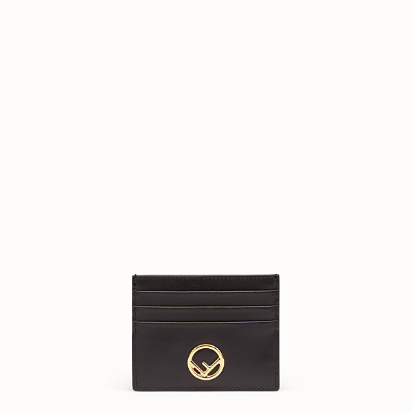 FENDI CARD HOLDER - Flat black leather card holder - view 1 small thumbnail