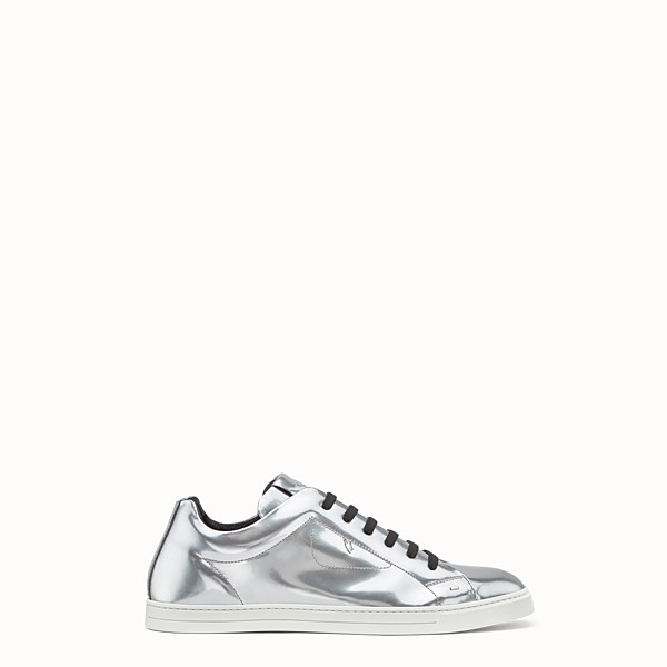 FENDI SNEAKER - Silver patent leather lace-ups - view 1 small thumbnail