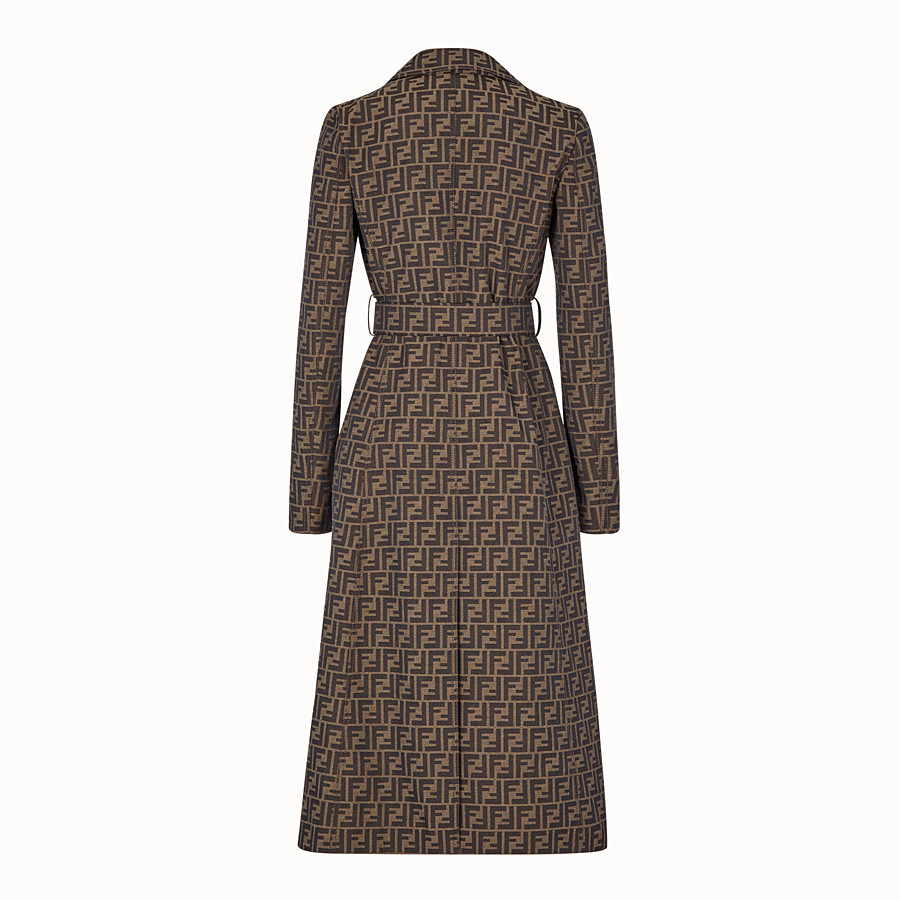 FENDI OVERCOAT - Brown canvas trench coat - view 2 detail