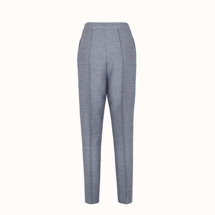 FENDI TROUSERS - Wool and silk Micro-check trousers - view 2 detail