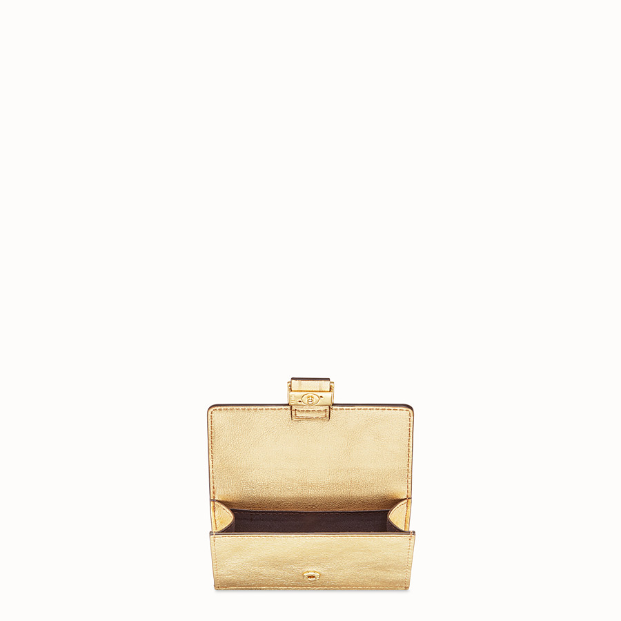 FENDI CARD HOLDER - Gold leather cardholder - view 3 detail