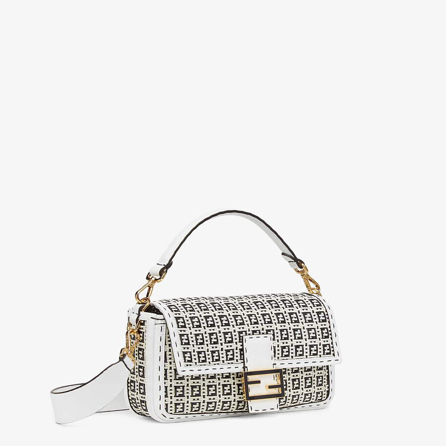 FENDI BAGUETTE - Black and white braided leather bag - view 2 detail