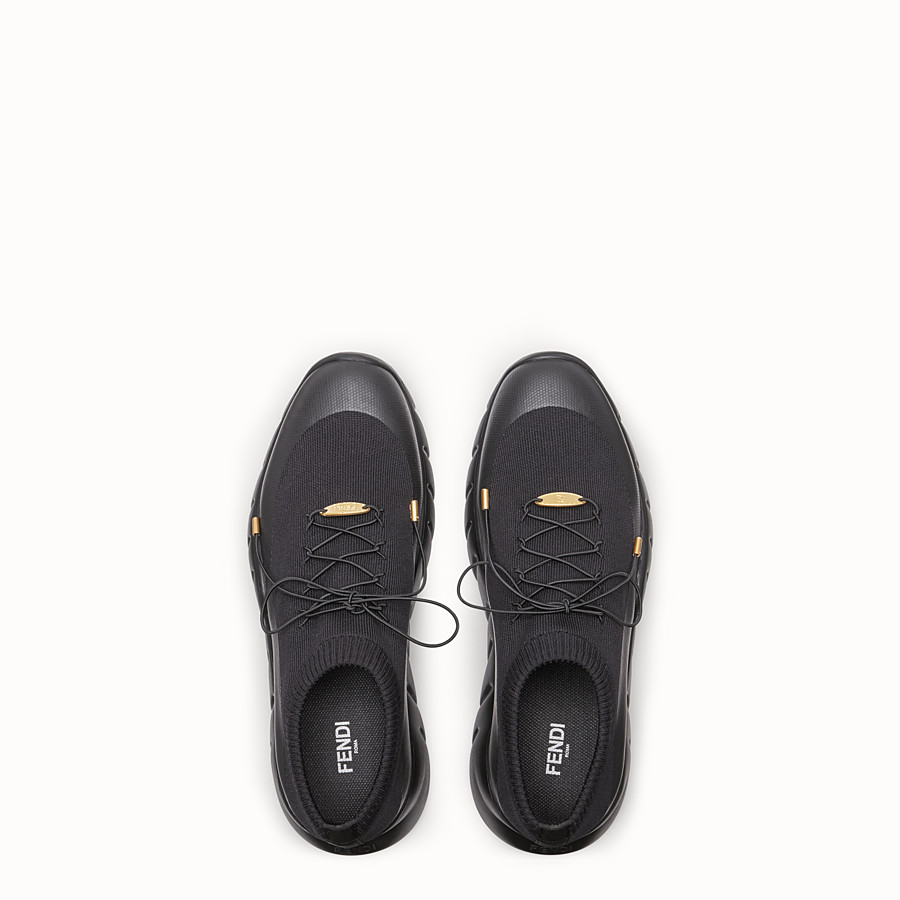 FENDI SNEAKERS - Black tech fabric low-tops - view 4 detail