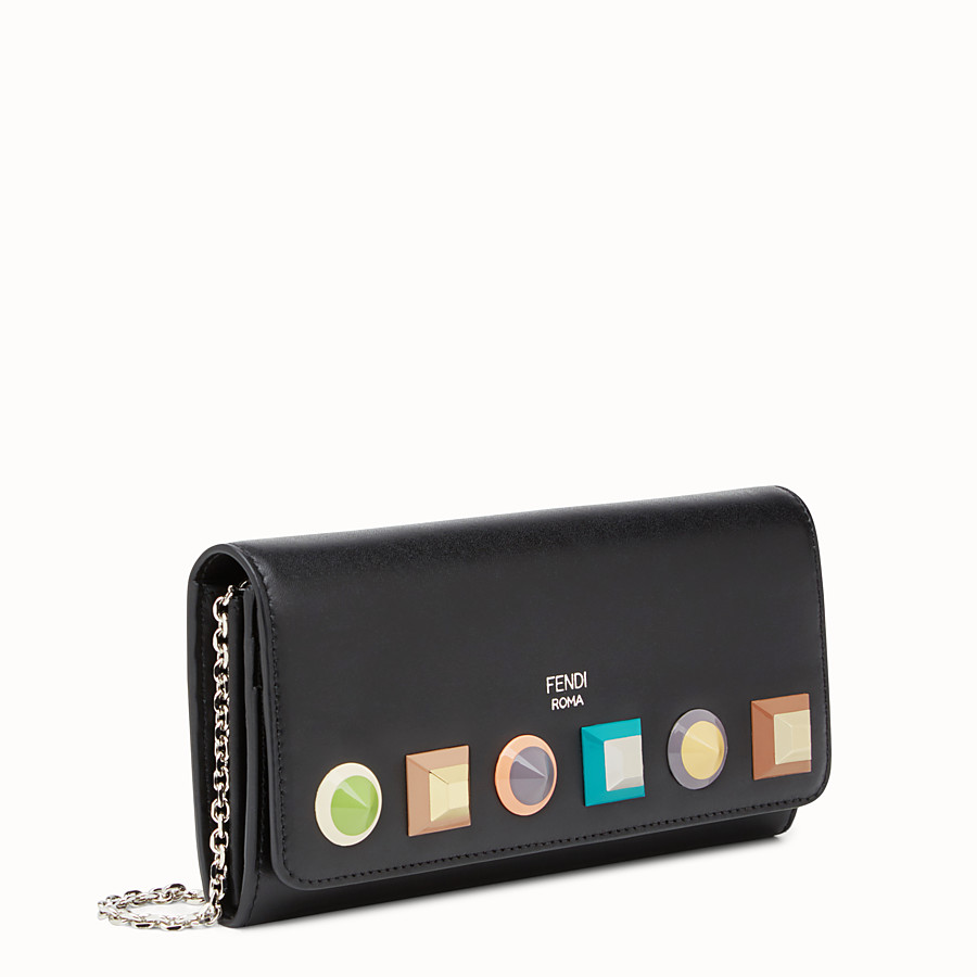 FENDI CONTINENTAL WITH CHAIN - Wallet in black leather - view 2 detail