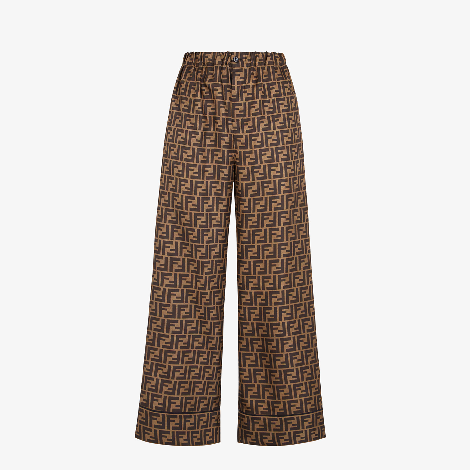 FENDI TROUSERS - Trousers in brown twill - view 1 detail