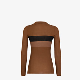 FENDI SWEATER - Brown silk sweater - view 2 thumbnail