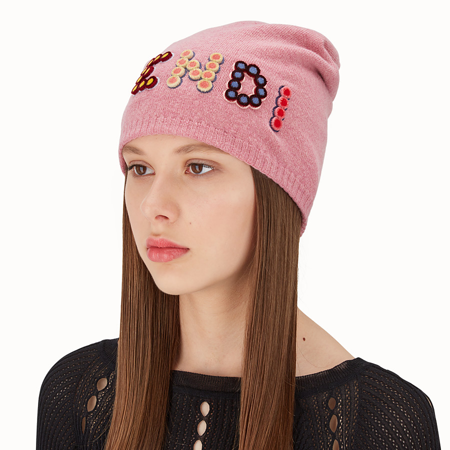 FENDI FUN FAIR HAT - Pink wool and cashmere hat - view 2 detail