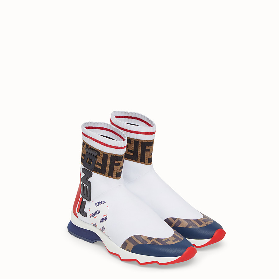 FENDI SNEAKERS - Multicolour fabric sneaker boots - view 4 detail