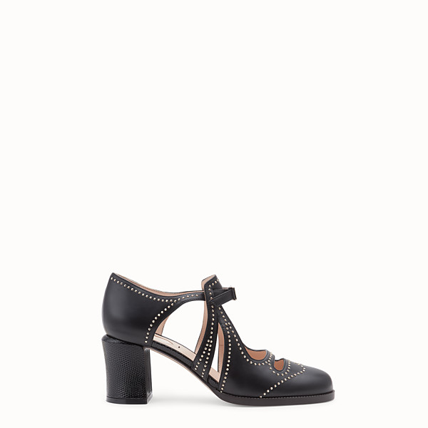 FENDI SANDALS - Black leather court shoes - view 1 small thumbnail