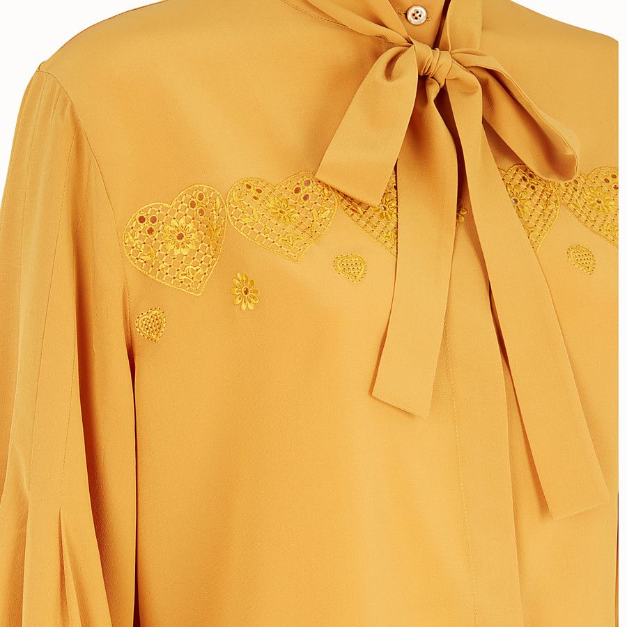 FENDI BLOUSE - Yellow silk blouse - view 3 detail