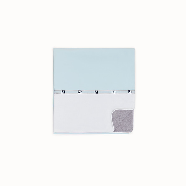 FENDI BABY BLANKET - Gray and sky blue cotton and fleece blanket - view 1 small thumbnail