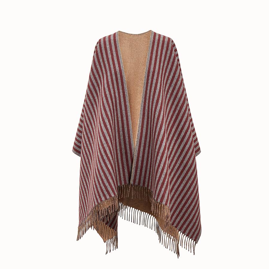 FENDI FENDI STRIPY PONCHO - Burgundy wool and cashmere poncho - view 1 detail