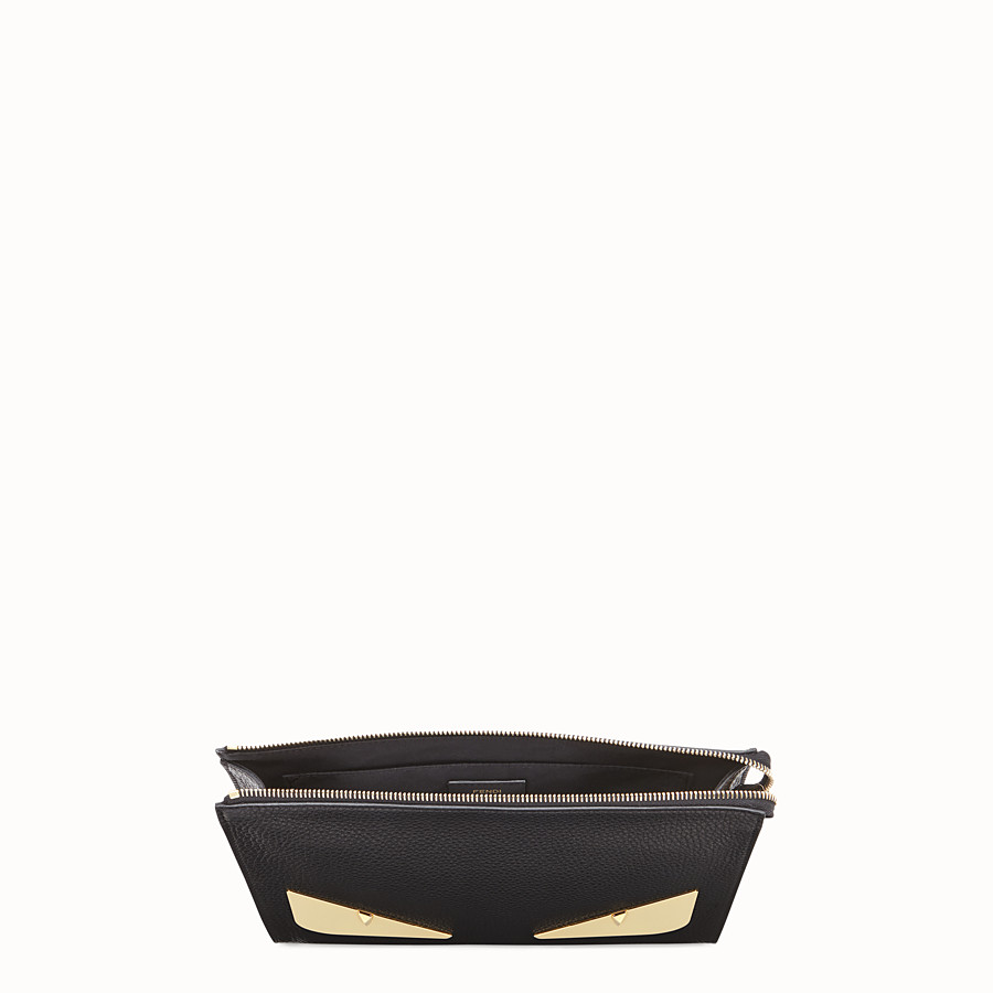 FENDI CLUTCH - Black Romano leather pochette - view 4 detail